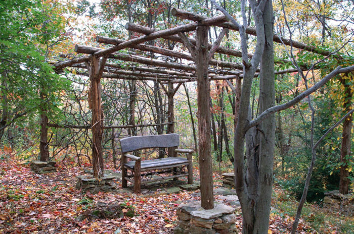 Rustic Pergola Design in the Woods with Bench