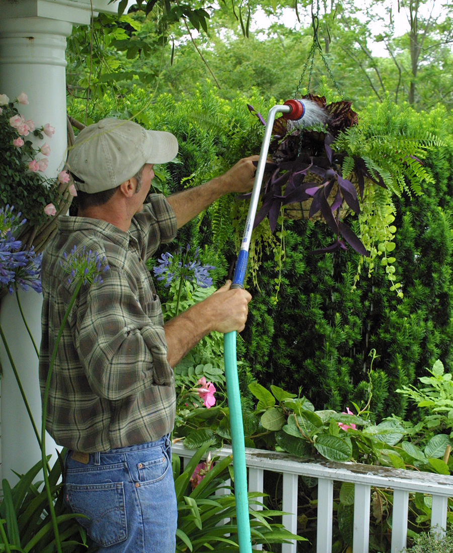 watering a hanging basket