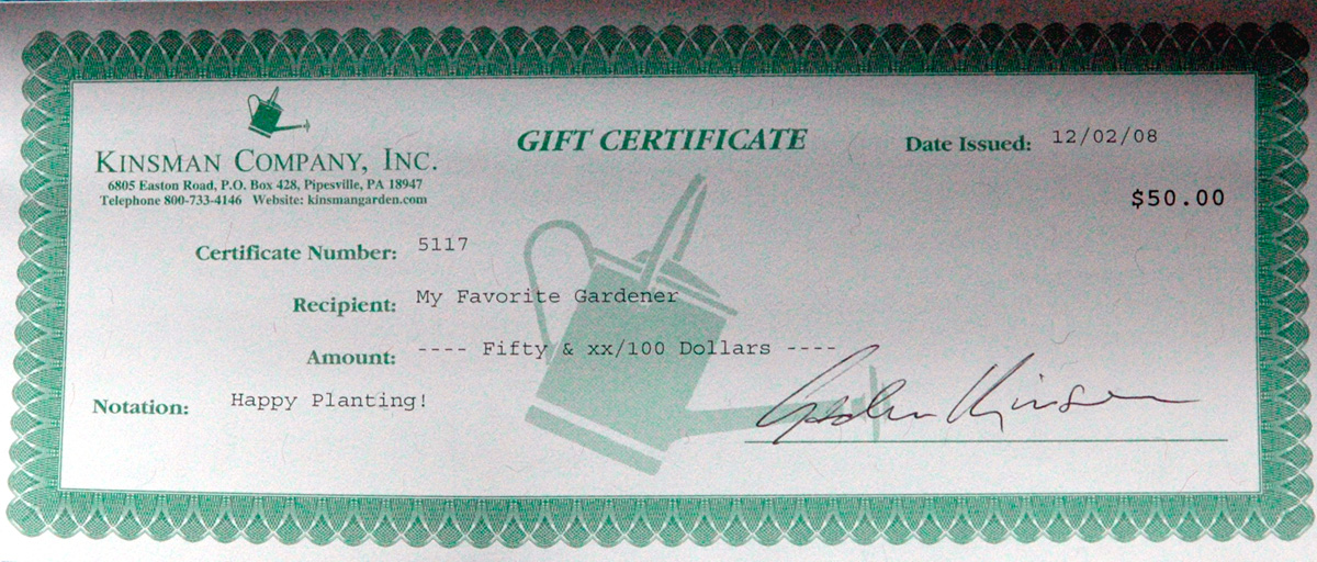 Kinsman Company gift certificate