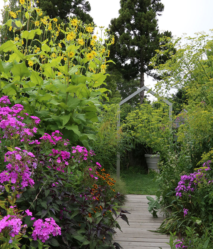 a defined entrance to the pollinator garden invites visitors in