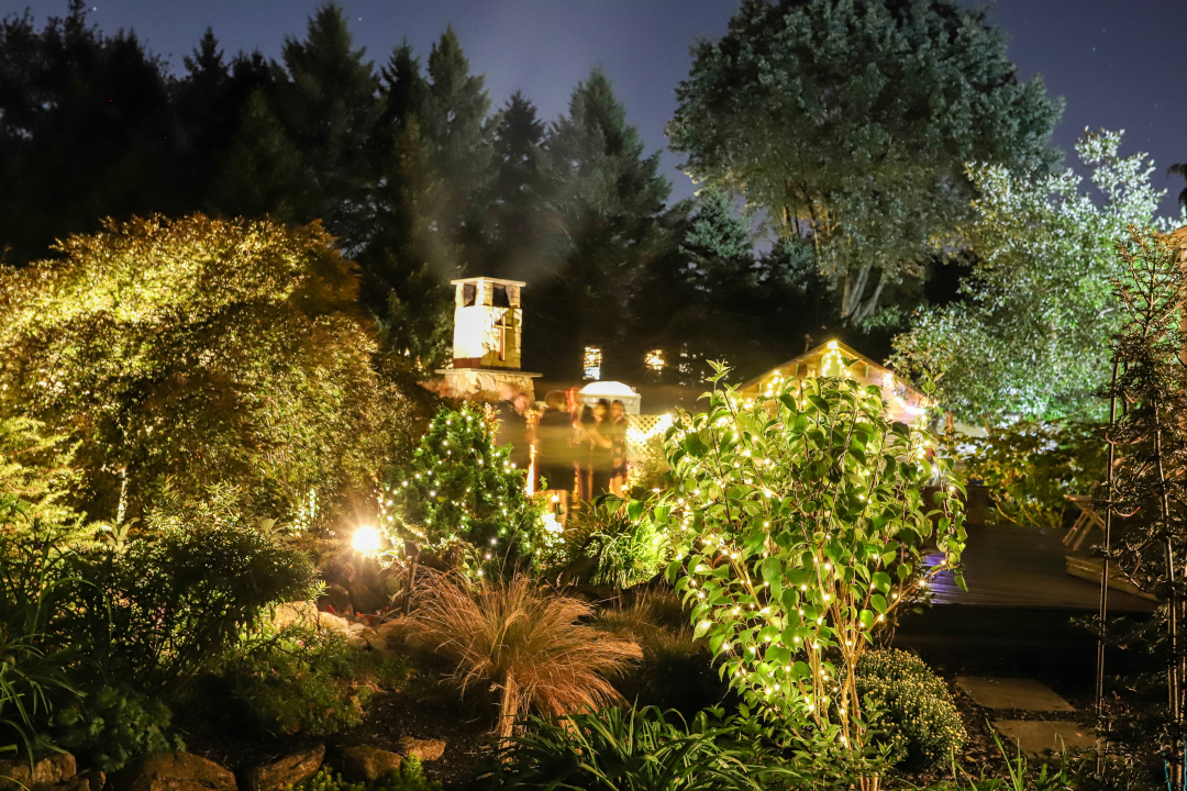 At night, a few people mingle in a well-lit garden