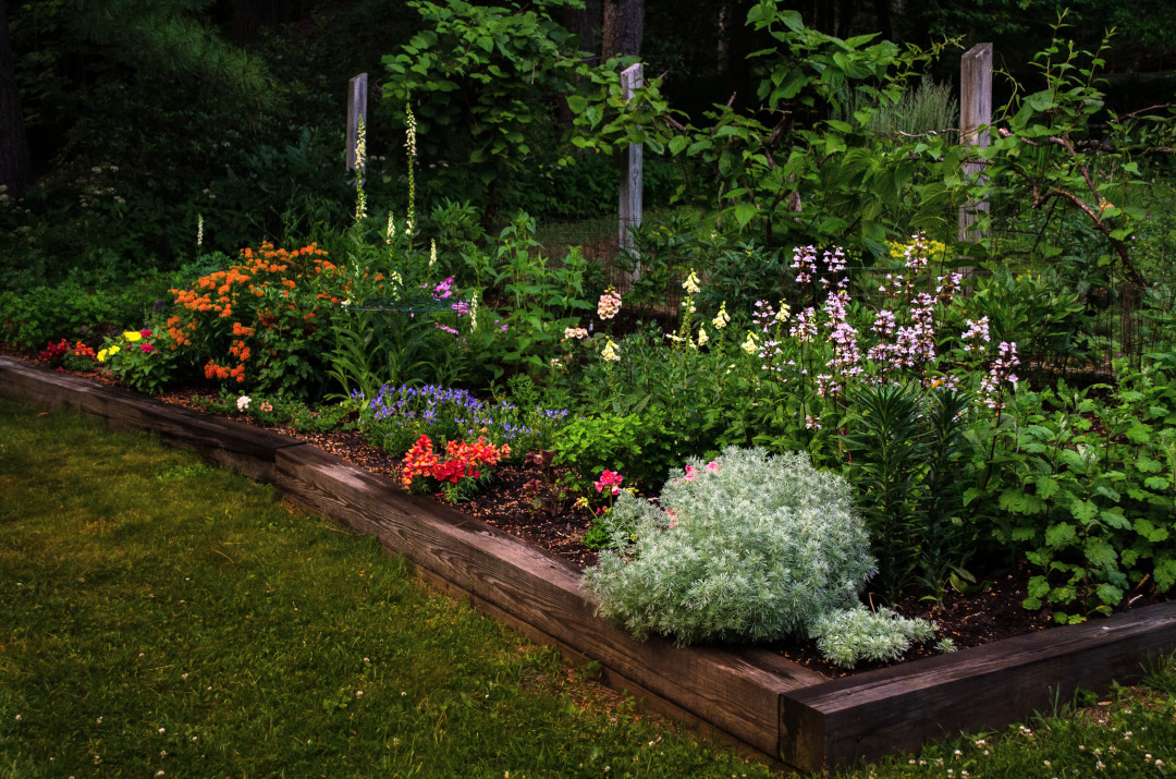 Raised bed filled with flowers
