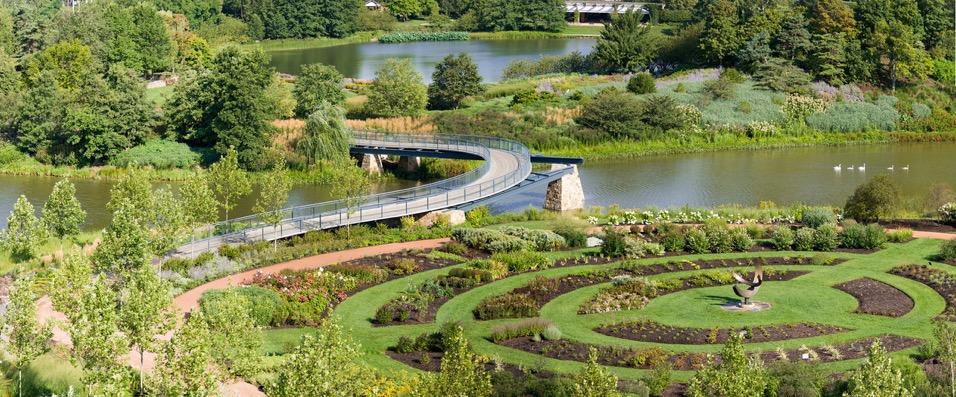 Chicago Botanic Garden Trial Gardens circle of garden beds
