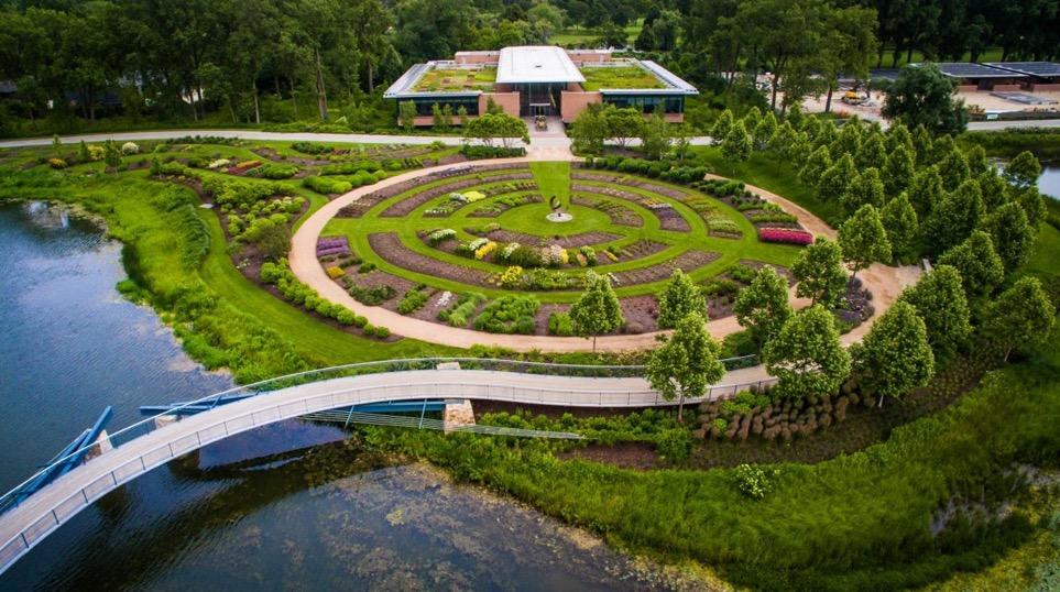 Chicago Botanic Garden Trial Gardens from above