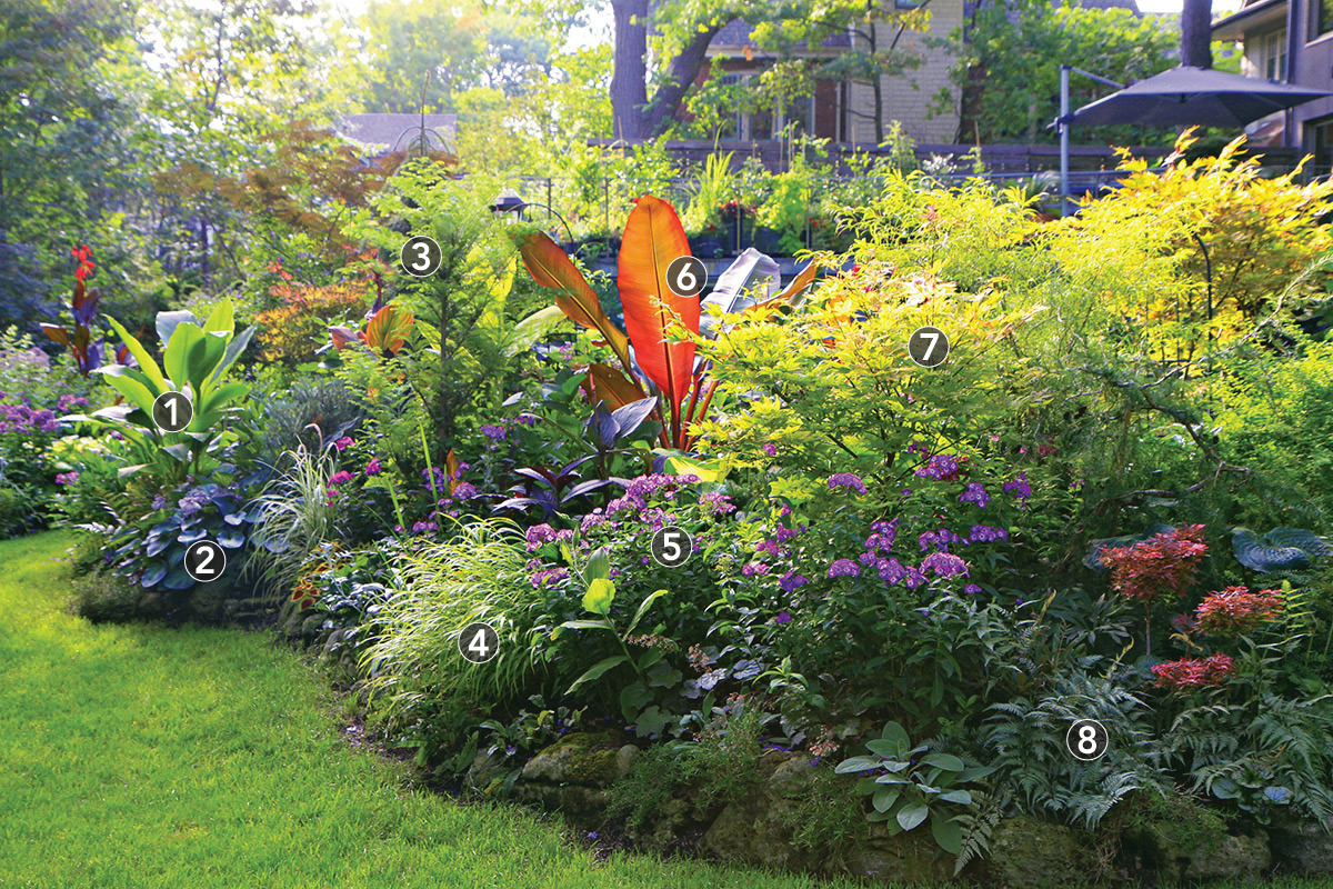 partial shade garden bed with lots of color