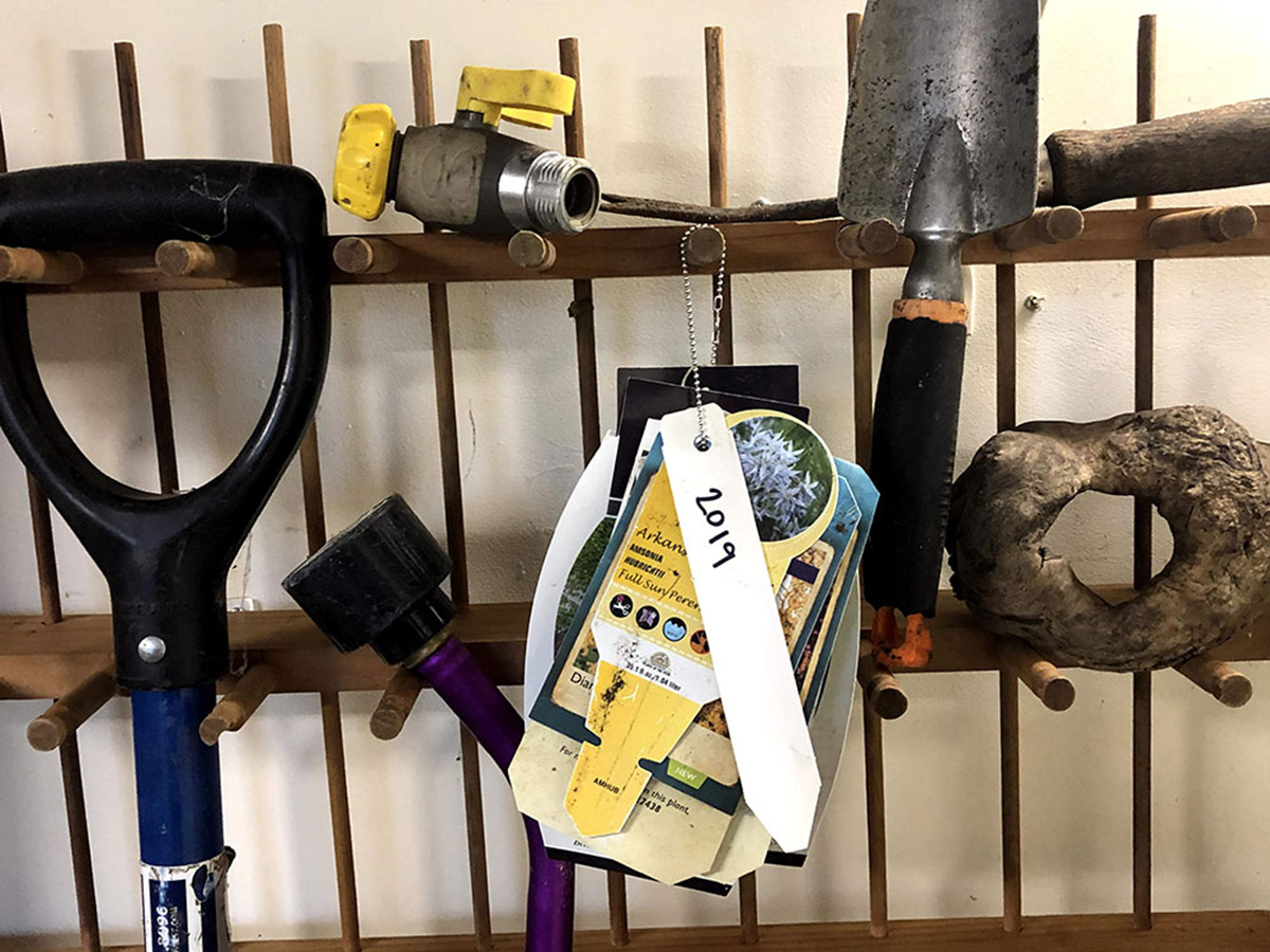 plant tags in a tool shed