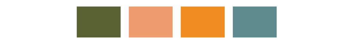 green, light pink, orange, and teal color blocks