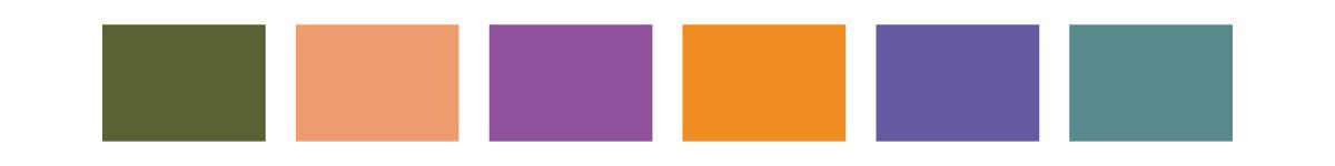green, peach, purple, orange, periwinkle, and teal color blocks