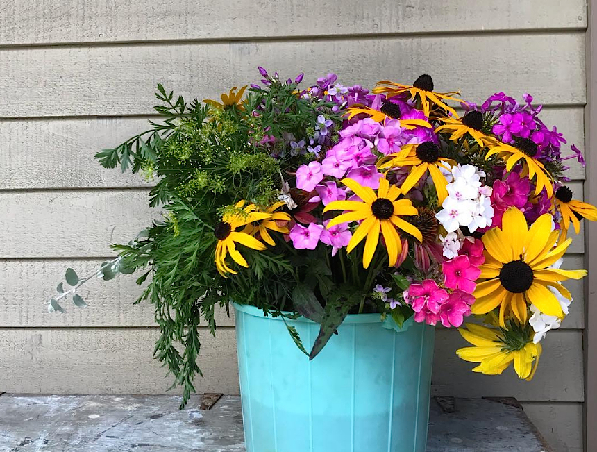 Bucket of cut flowers