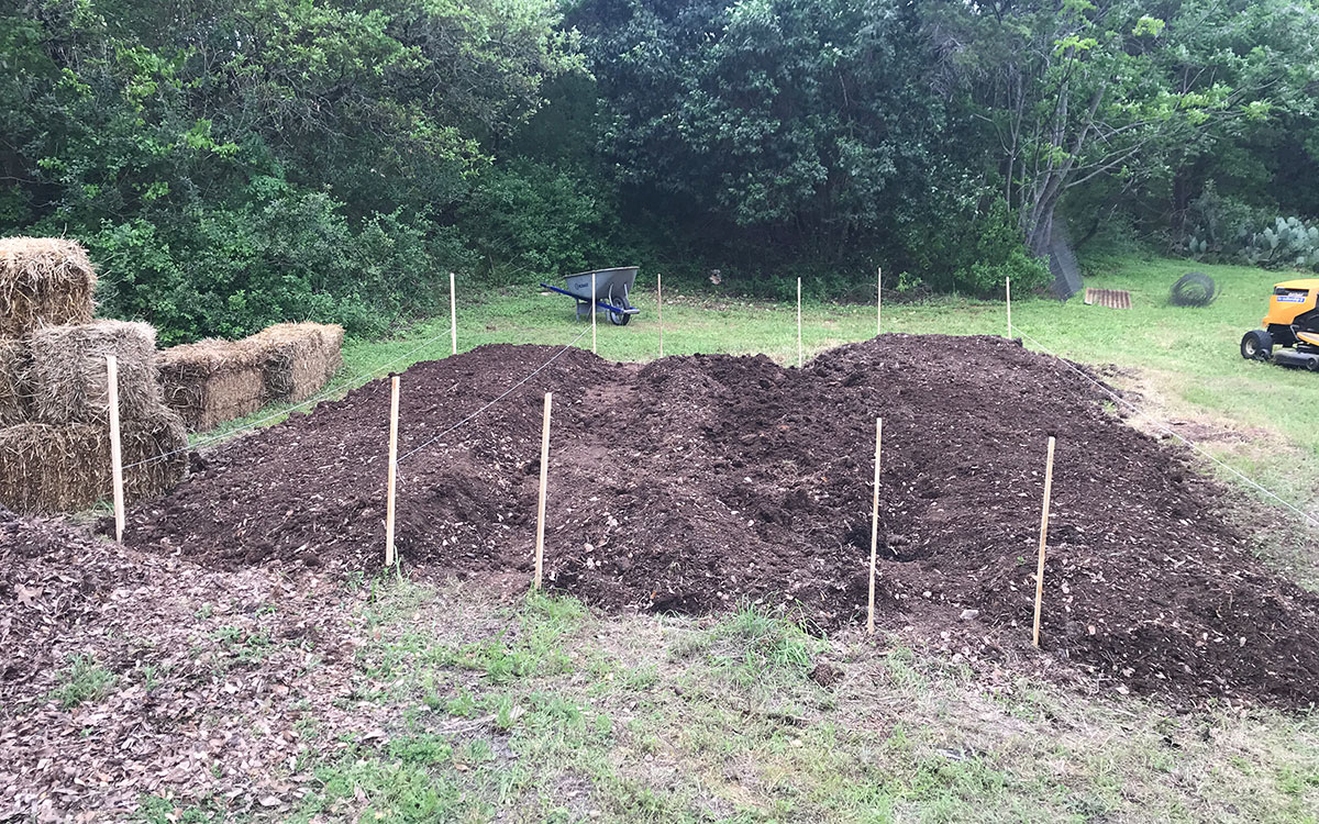 newly laid out vegetable garden bed