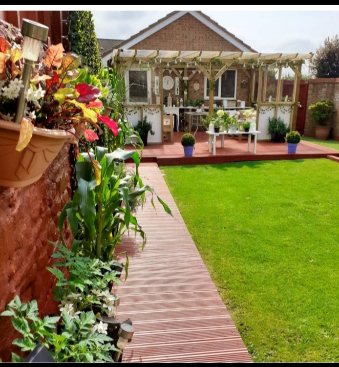 A garden with a deck, pergola, and plants
