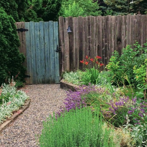 garden path leading to a rustic wood fence