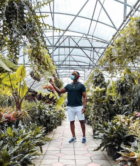 man at a nursery checking out plants