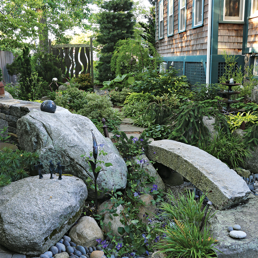 garden with lots of granite and greenery