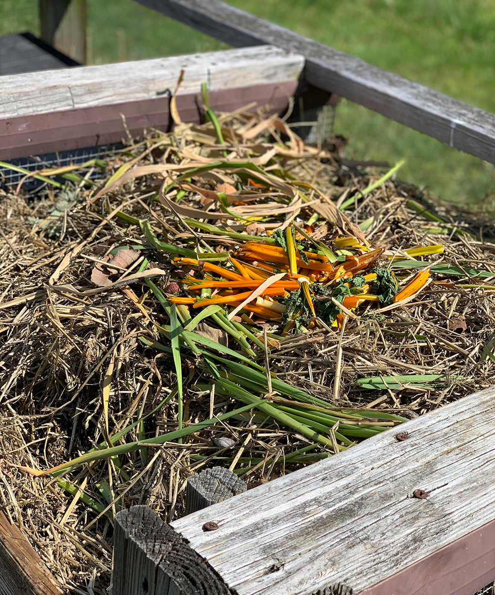 compost bin with fresh material