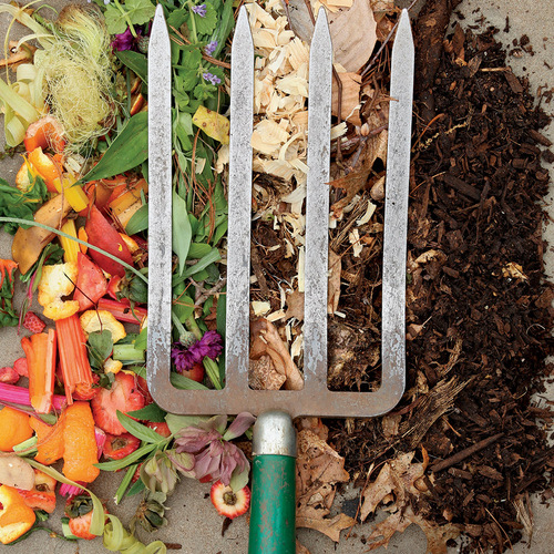 Pitchfork with ingredients to make compost