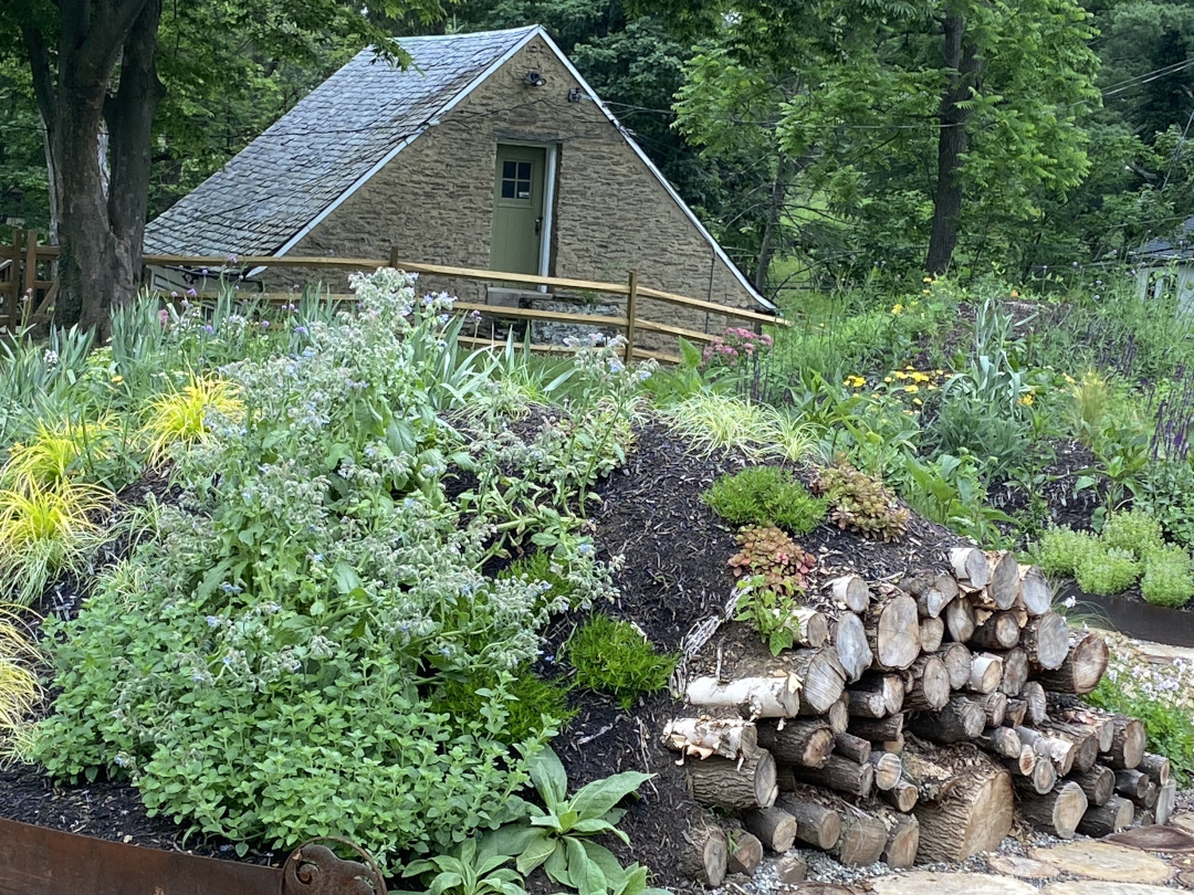 A garden planted on a mound with logs at one end