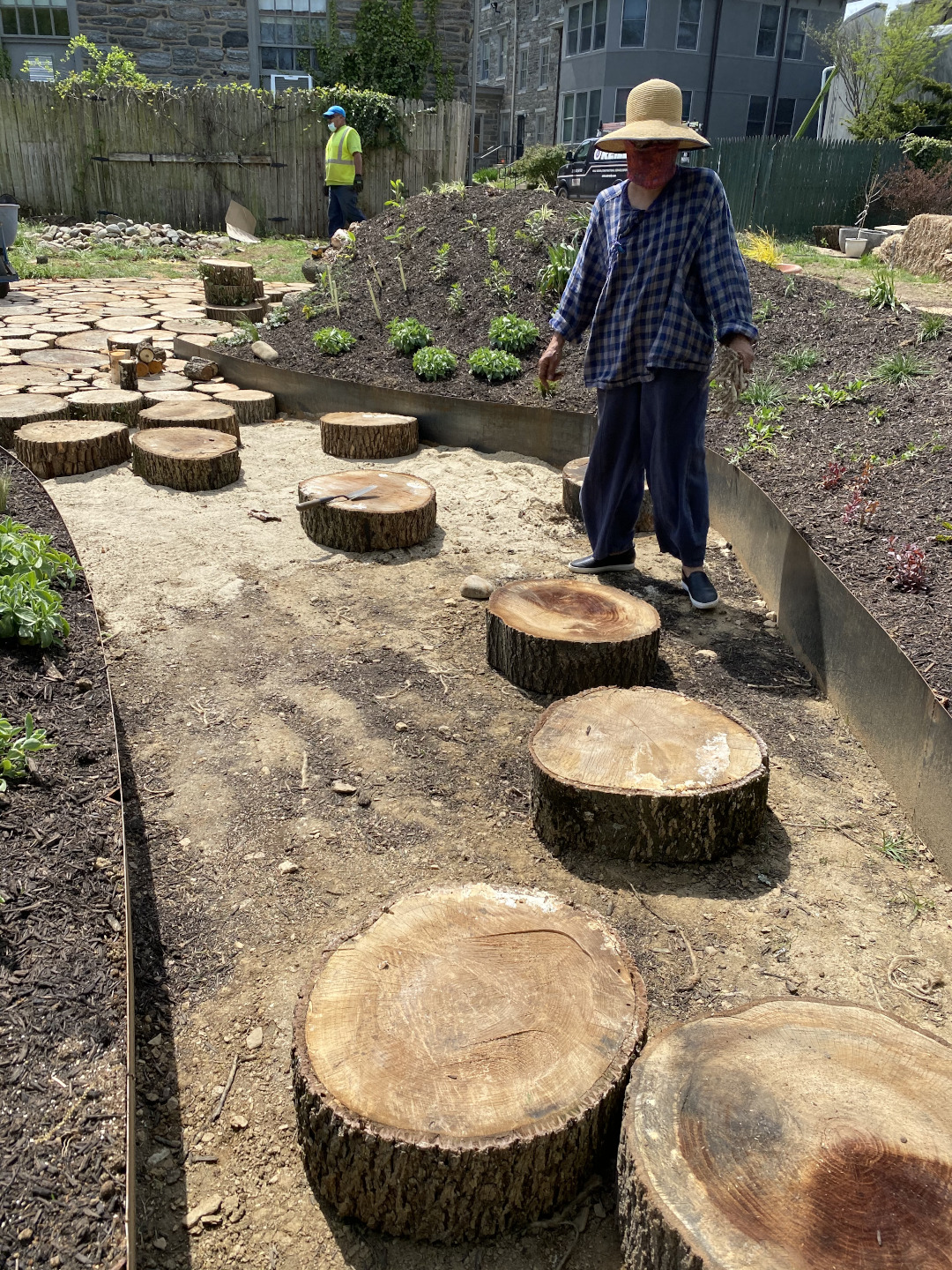 Sliced sections of logs being placed to form a path