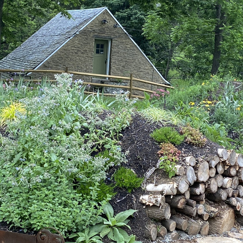 A garden planted on a mound with logs at one end. A small building is visible behind.