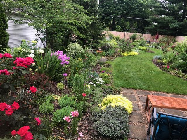 garden bed next to backyard patio