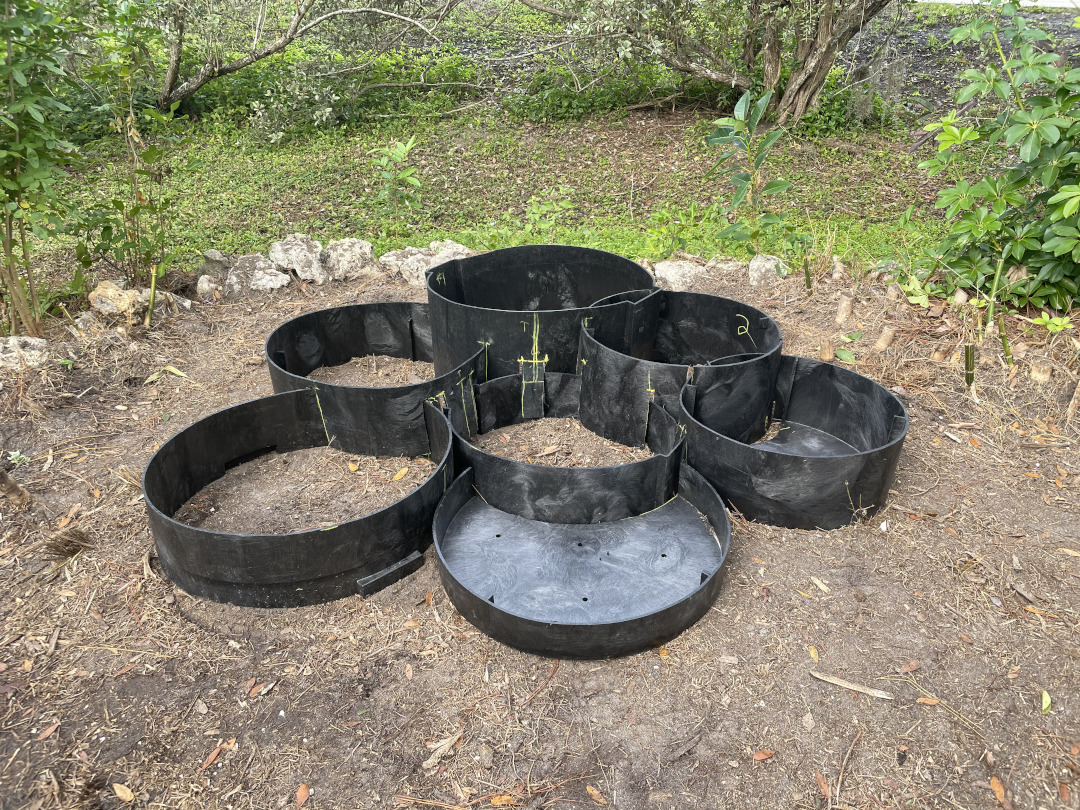 Black pastic rings arranged to make a layered garden bed