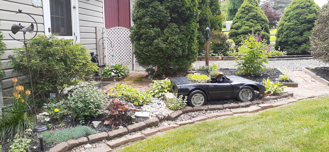garden bed with unusual car plant container