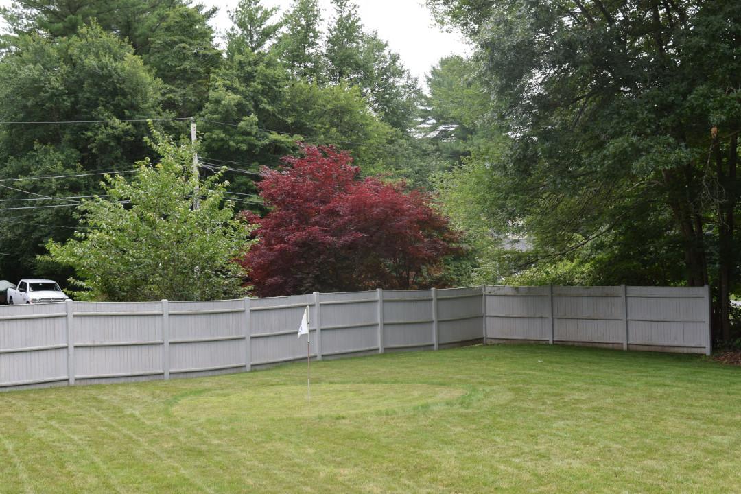 backyard garden with golf hole