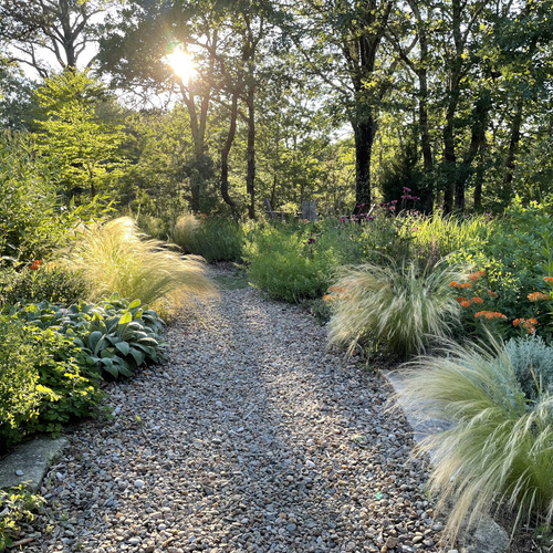 gravel garden path at late day