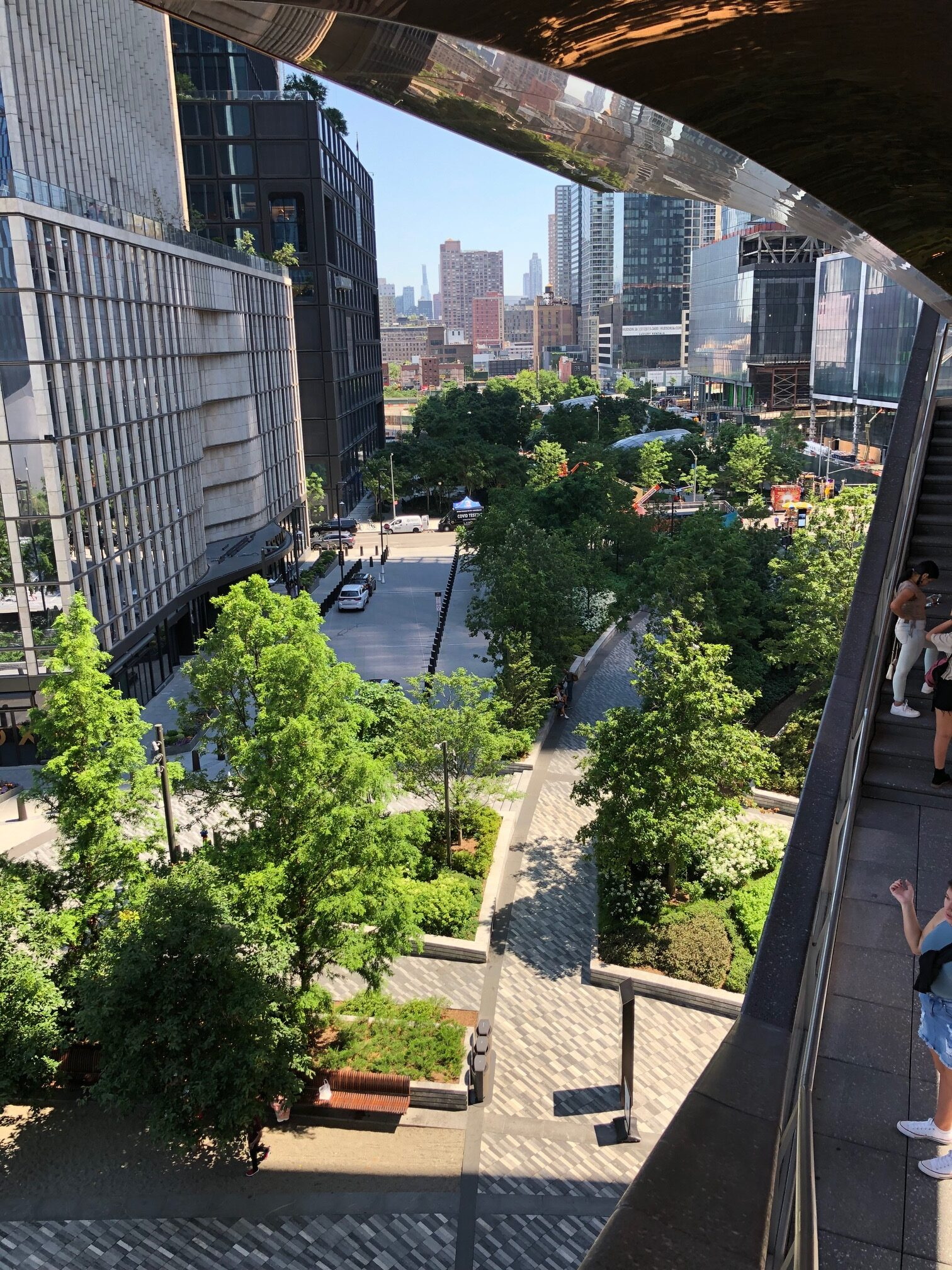 view of Hudson Yards gardens from above
