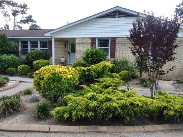 front of house with lots of evergreen shrubs