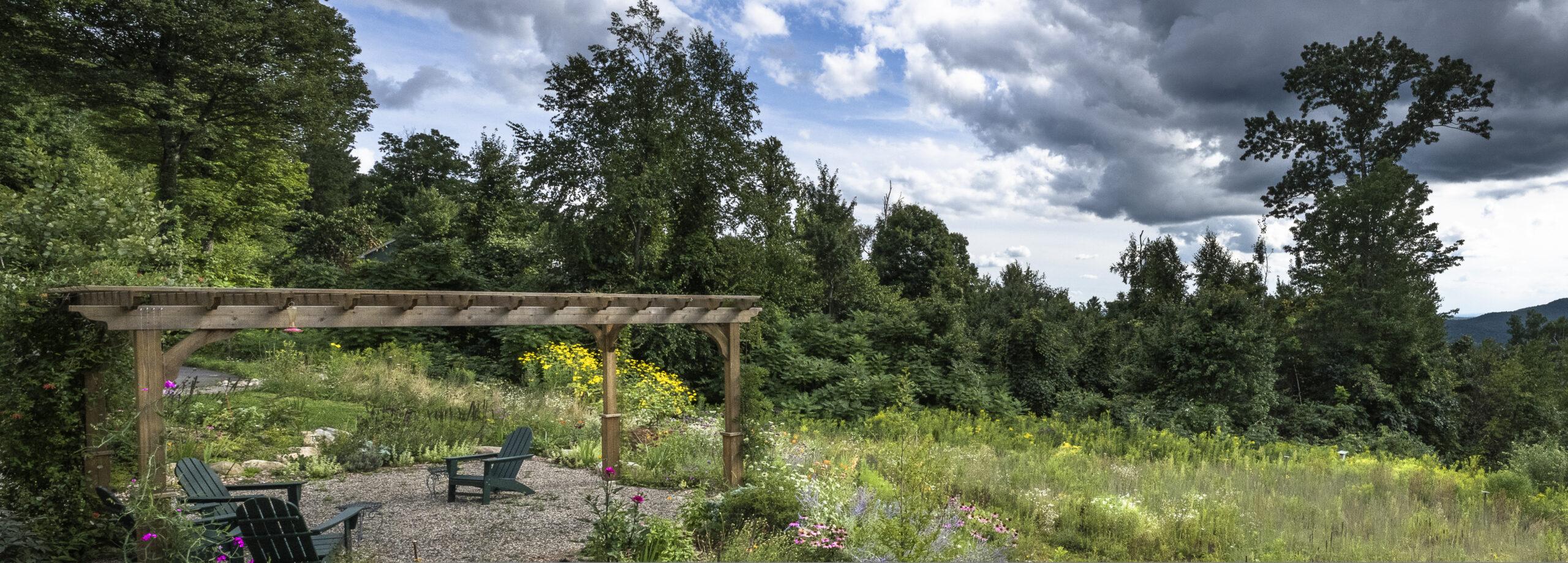 garden pergola overlooking meadow