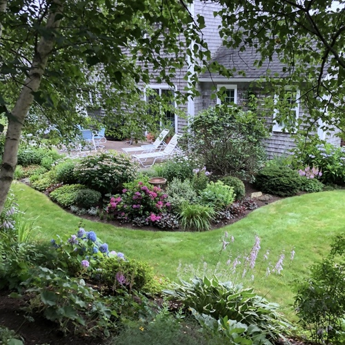 view of garden from back slope