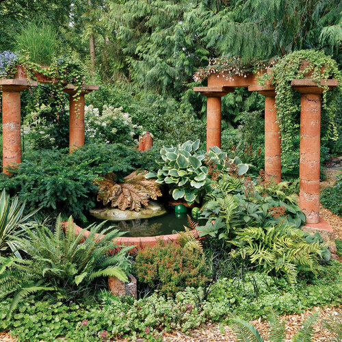 """It works on many levels. """"The Ruins"""" is impressive from afar. But once you get close enough to notice the delicate interplay of forms, textures, and colors among the plants and hardscape, you understand that this is more than just a cool water feature."""