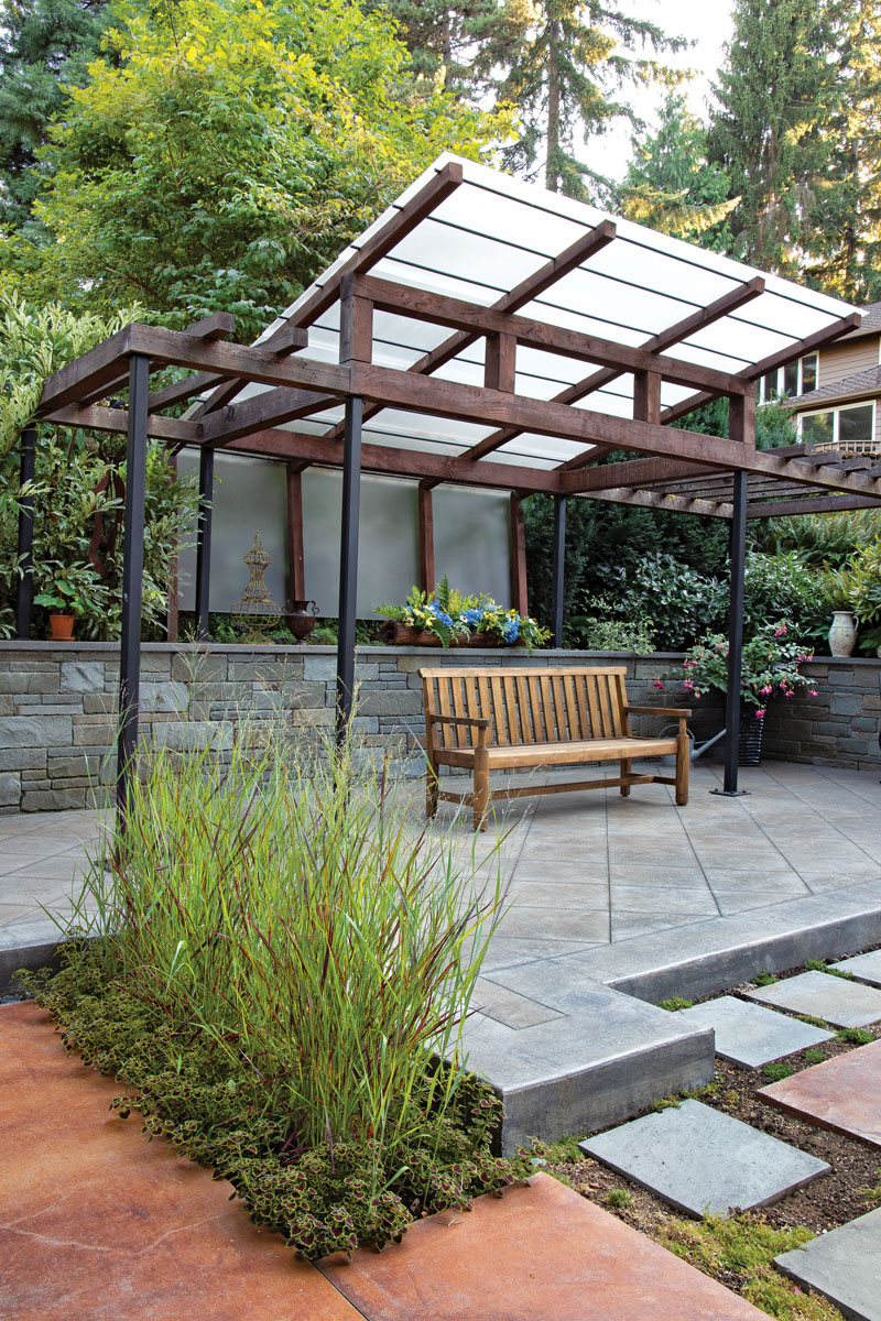 bench and garden
