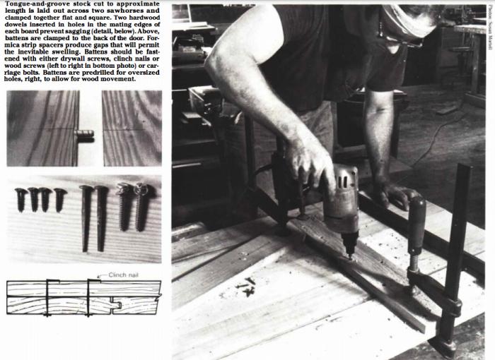 carpenter assembling a batten door