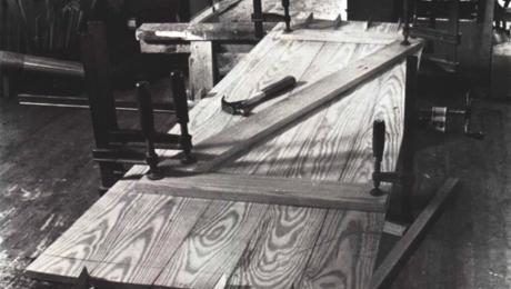 wood batten door on a workbench
