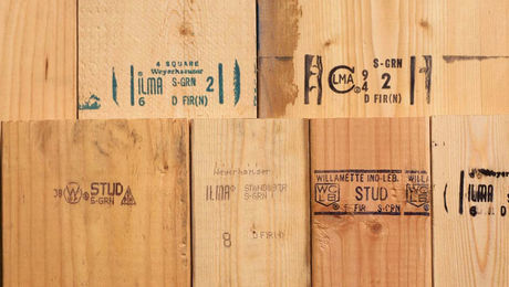 lumber with grade stamps on it