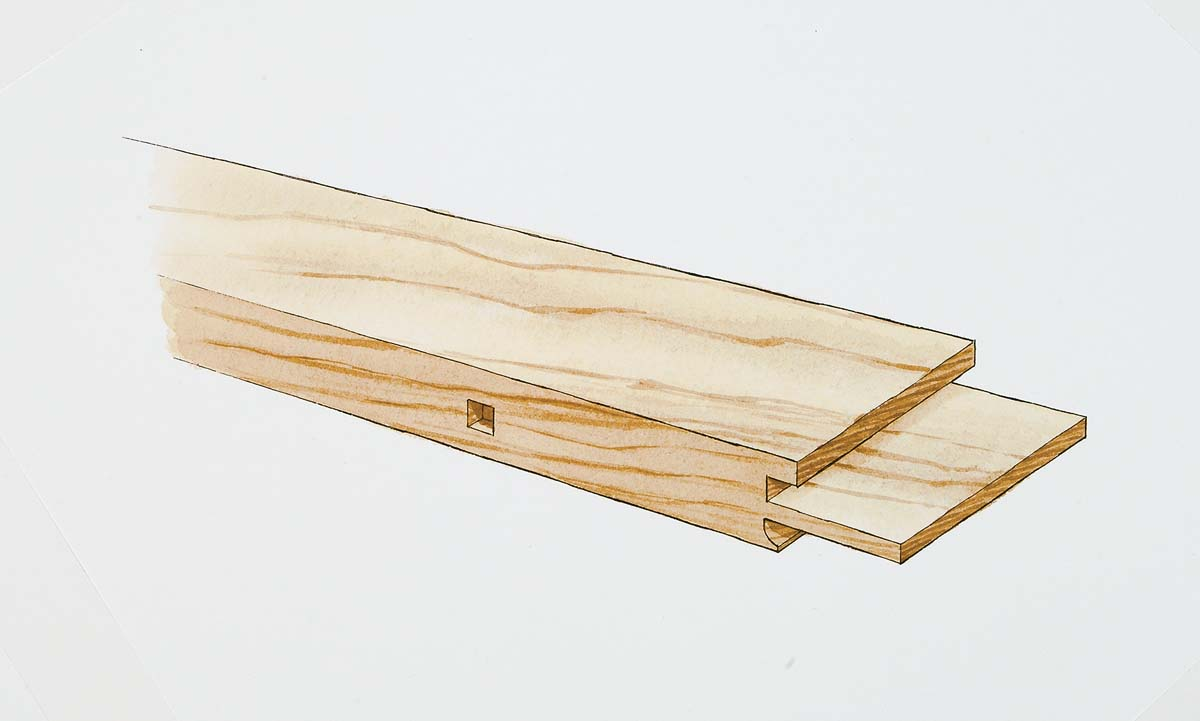 he groove between the shoulder and the tenon is cut with a shaper with a large-diameter shaper cutter. The cope below the tenon is cut on a router table.