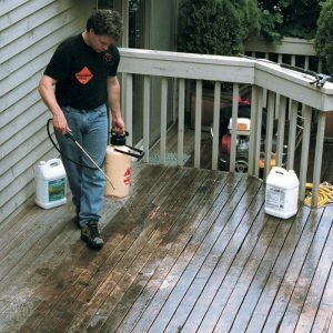 Cutting quickly through the crud. Applied using a garden sprayer, a specially formulated deck cleaner dissolves dirt and oxidation and kills mold and mildew on contact.