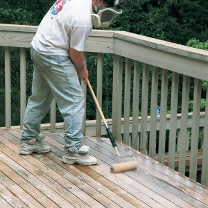 To ensure an even application, the finish is rolled after every two or three passes.