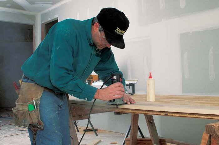 A quick pass with a flush-trimming router evens up the edges.