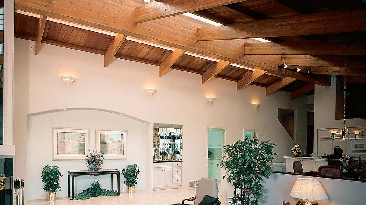 room with engineered wood ceilings