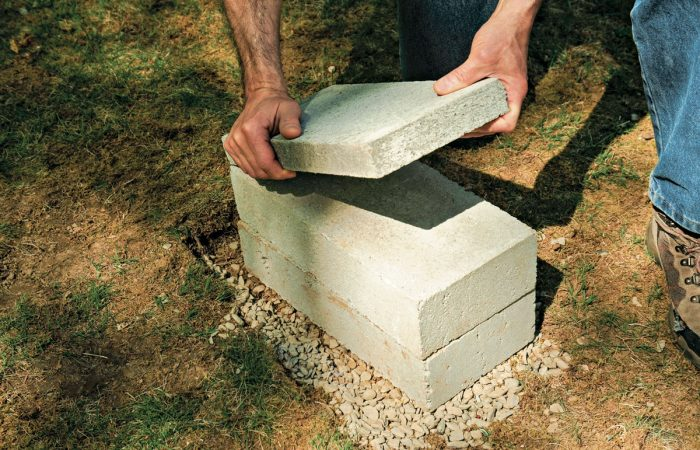solid concrete block shed footing