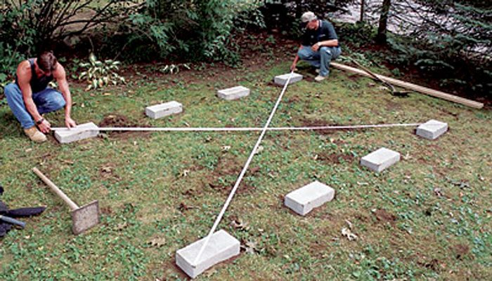 how to square up shed footings