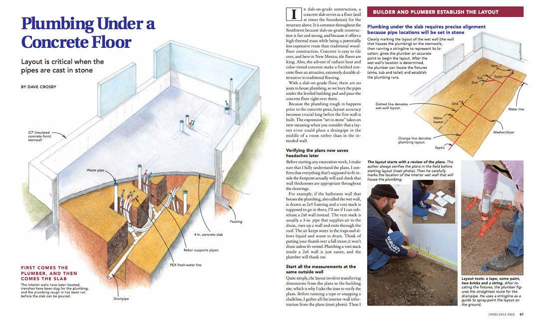 Plumbing Under A Concrete Floor Fine Homebuilding
