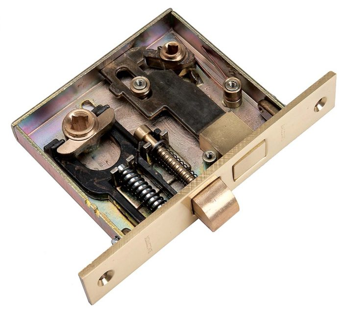 A spindle connecting the knobs passes through a square hole in the lockset and activates the latch.