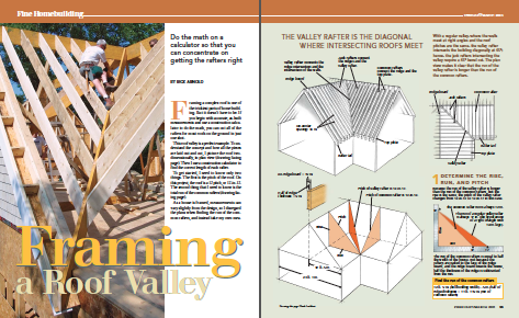 framing a roof valley magazine spread