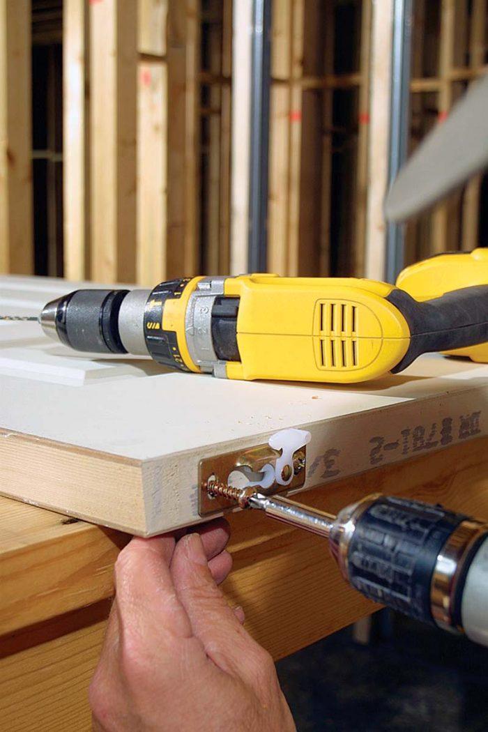 Pre-drill screw holes to avoid splitting wood.