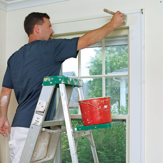 Start inside and work outward. To avoid lap marks, paint the muntins first, then the window frame, and finish with the casing.