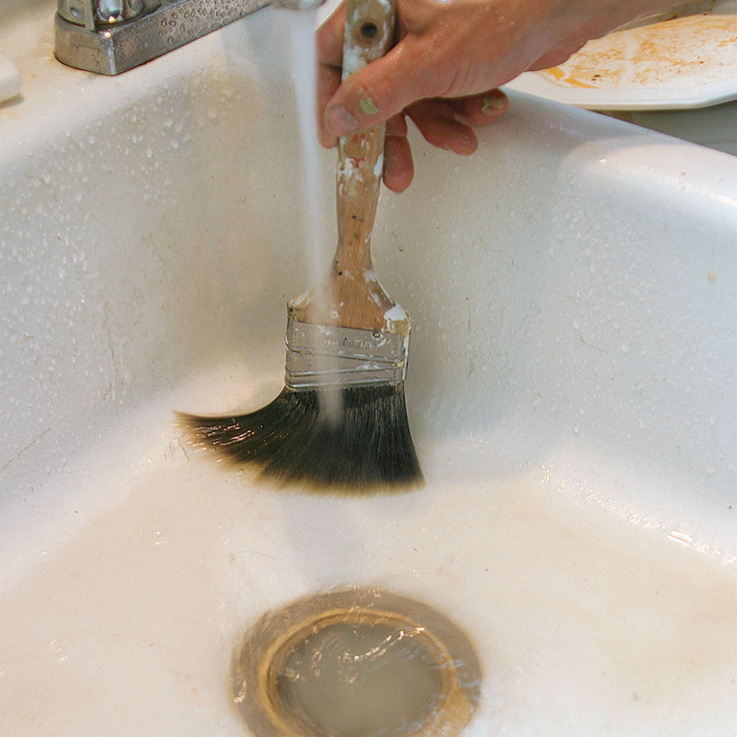 A thorough washing saves both brushes and rollers.
